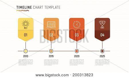 Timeline chart infographic template for data visualization. 4 steps. Vector illustration.