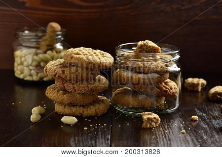 Peanut butter cookies on a black background