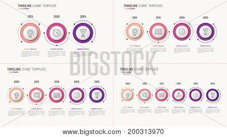 Timeline chart infographic designs for data visualization. 3-6 steps. Vector illustration.