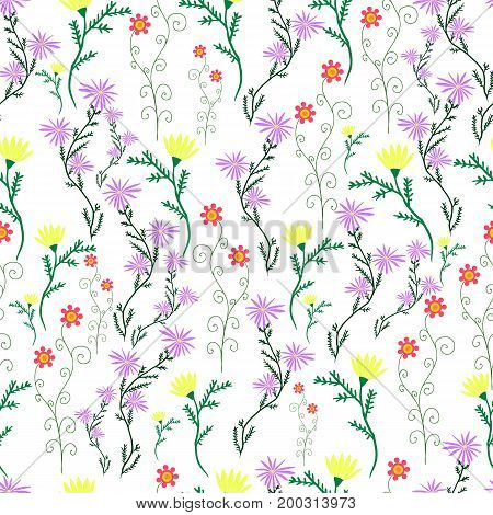 Summer delicate wild flowers pastel color floral seamless pattern. Vector hand drawn illustration
