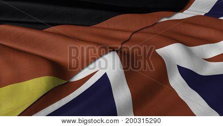 3D Illustration of German and UK flag fluttering in light wind.