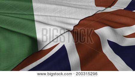 3D Illustration of Italian and UK flag fluttering in light wind.