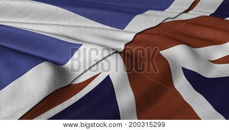 3D Illustration of Scottish and UK flag fluttering in light wind.