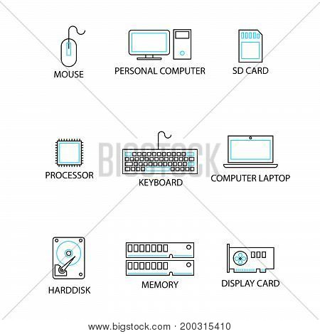 Modern Thin Line Icon And Pictogram, Computer Peripheral Concept, Flat Thin Line Designed Vector Ill