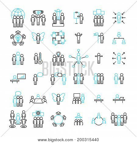 People Icon Vector Set, Modern Flat Designed Thin Line Vector Illustration.