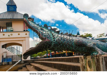 Monument To The Crocodile. Kuching, Sarawak, Malaysia.