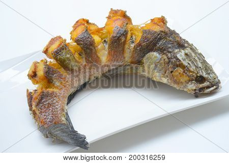 Fried striped snakehead fish on white plate