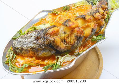 spicy sour soup with striped snake-head fish