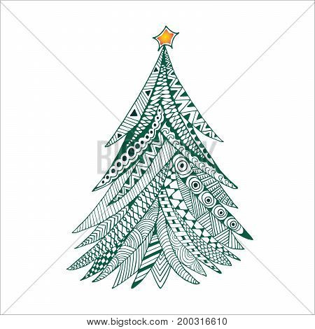 Christmas tree doodle stylized hand drawn illustration green on white. Happy New Year card