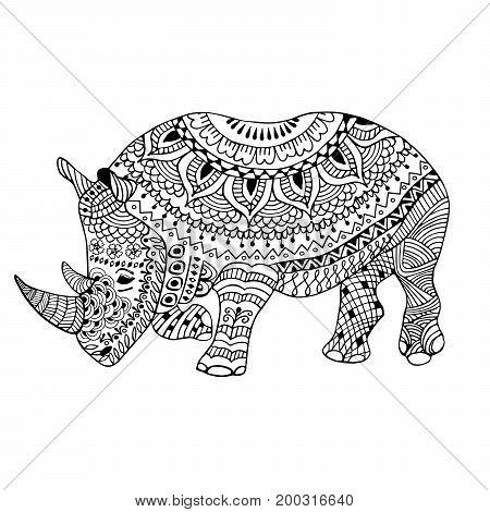 Rhino doodle stylized hand drawn illustration black and white