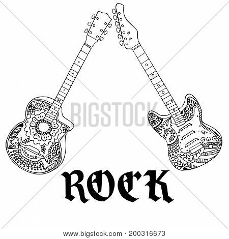 Acoustic and electric guitars with rock letters hand drawn on white. Object isolated.