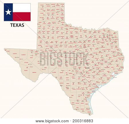 texas administrative and political vector map with flag