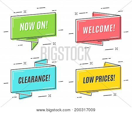 Flat linear promotion ribbon banners, price tags, stickers, badges, posters Vector illustration