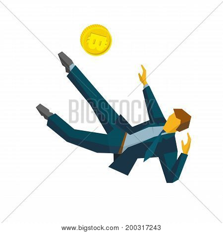 Businessman kicking gold bitcoin in jump like football player. Isolated on white background. Business concept (metaphors) - cryptocurrency. Flat vector clip art.