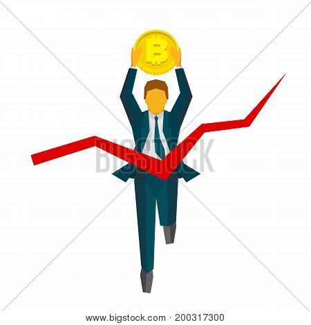 Running businessman with bitcoin crosses a finish line. Red ribbon in the form of graph. Business concepts - cryptocurrency, success, win the race. Flat style vector clip art isolated on white.