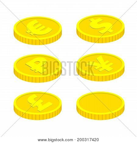 3d isometric vector coins isolated on white background. With currency signs - dollar, pound, euro, ruble and yen. Vector design elements, business or finance theme.