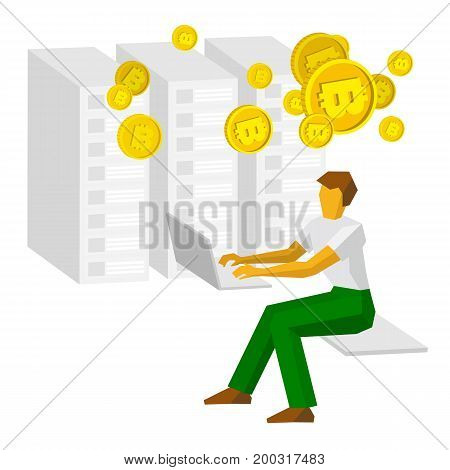 Man working on a computer and mining bitcoins. Mainframes (servers) at the back. Business concept - cryptocurrency, profit growth, easy money. Flat style clip art isolated on white background.