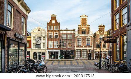 ALKMAAR THE NETHERLANDS - AUGUST 25 2013: Architecture in Alkmaar the Netherlands commercial street