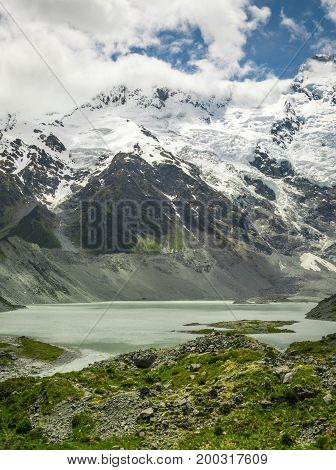 Mountains, Lakes And Meadow Landscape