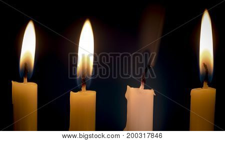 Extinguished Candle Among Burning Ones With Smoke Over Dark Background. Standing Out From Crowd Conc