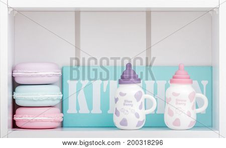 Cute Porcelain Milk Bottles With Colorful Covers