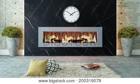 living room with black marble fireplace 3D design and rendering for your project 3D rendering