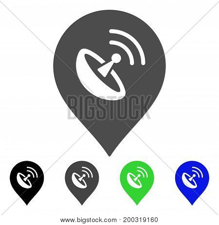 Antenna Marker flat vector pictograph. Colored antenna marker, gray, black, blue, green pictogram variants. Flat icon style for web design.