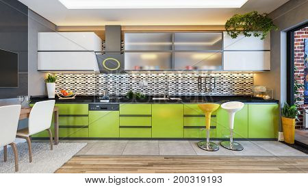 green color kitchen design black white ceramic with fresh fruit and kitchen machines 3D rendering