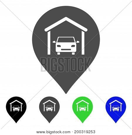 Car Garage Marker flat vector pictograph. Colored car garage marker, gray, black, blue, green pictogram versions. Flat icon style for application design.