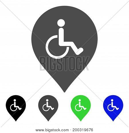 Disabled Person Parking Marker flat vector pictograph. Colored disabled person parking marker, gray, black, blue, green pictogram variants. Flat icon style for application design.