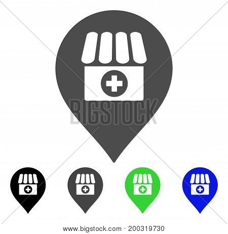 Drugstore Marker flat vector icon. Colored drugstore marker, gray, black, blue, green icon variants. Flat icon style for application design.