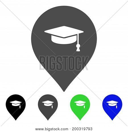 Education Marker flat vector icon. Colored education marker, gray, black, blue, green pictogram variants. Flat icon style for application design.