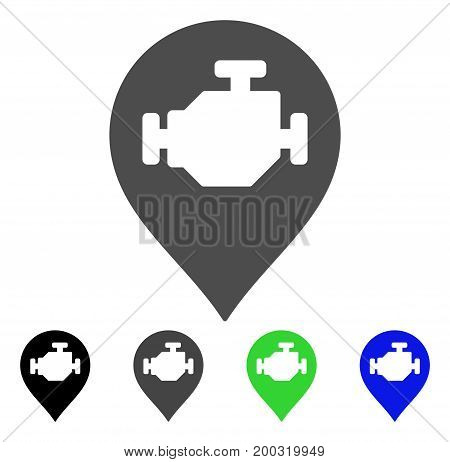 Engine Marker flat vector pictograph. Colored engine marker, gray, black, blue, green pictogram versions. Flat icon style for web design.
