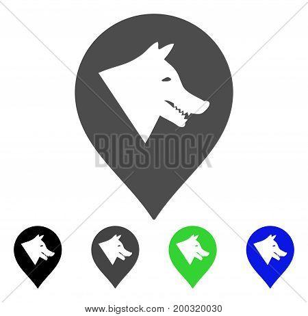 Evil Dog Marker flat vector illustration. Colored evil dog marker, gray, black, blue, green icon variants. Flat icon style for web design.