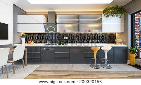 kitchen design black ceramic with fresh fruit and kitchen machines 3D rendering