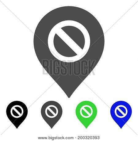 Forbidden Marker flat vector illustration. Colored forbidden marker, gray, black, blue, green icon versions. Flat icon style for graphic design.