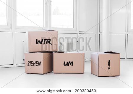 White Room With Cartons