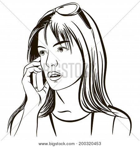 Beautiful girl speaks by phone, Doodle vector illustration, for banners, posters, flyers