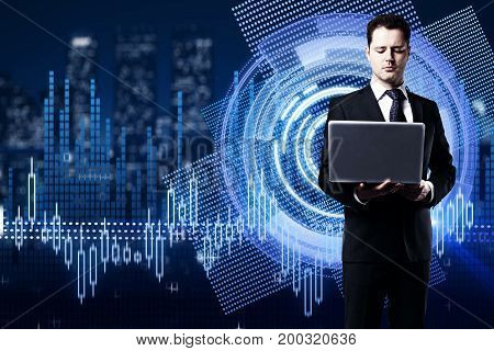 Businessman using laptop on abstract digital business chart hologram hologram with city view. Innovation concept. 3D Rendering
