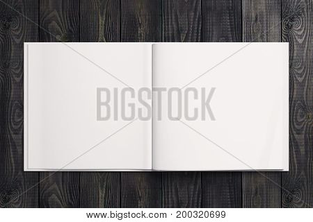 Blank white note paper copybook diary organizer on wooden desktop. Advertisement supplies education text copy space concept. Mock up 3D Rendering