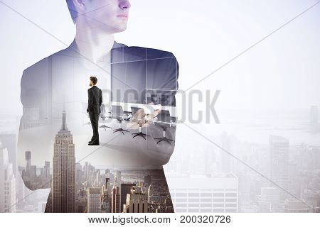 Abstract image of thoughtful businessman thinking about work on creative city background with copy space. Tomorrow concept. Double exposure