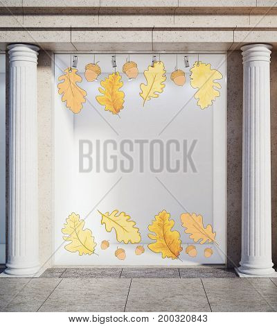 Storefront window display glass showcase exterior with concrete columns and creative autumn leaves fall foliage sale sketch drawing in daylight and copy space. Offer concept. 3D Rendering