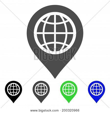 Globe Map Marker flat vector illustration. Colored globe map marker, gray, black, blue, green icon versions. Flat icon style for web design.