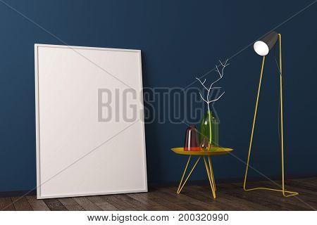 Creative Scandinavian Interior With Banner