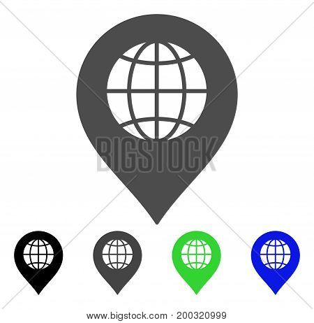 Globe Marker flat vector pictogram. Colored globe marker, gray, black, blue, green icon versions. Flat icon style for application design.