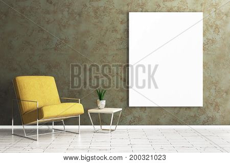 Comfortable living room interior with armchair table with green and empty banner on concrete wall. Mock up 3D Rendering