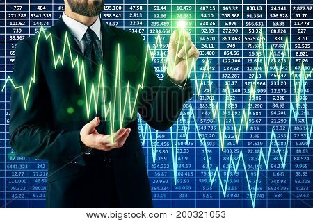 Businessman drawing abstract colorful glowing forex chart. Profit concept. 3D Rendering