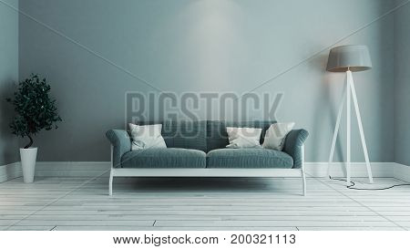 blue color living room interior design with blue seat and green plant 3D rendering