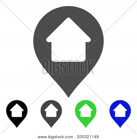 Home Marker flat vector pictogram. Colored home marker, gray, black, blue, green pictogram versions. Flat icon style for graphic design.