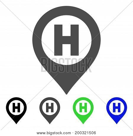 Hospital Letter Marker flat vector icon. Colored hospital letter marker, gray, black, blue, green icon variants. Flat icon style for graphic design.